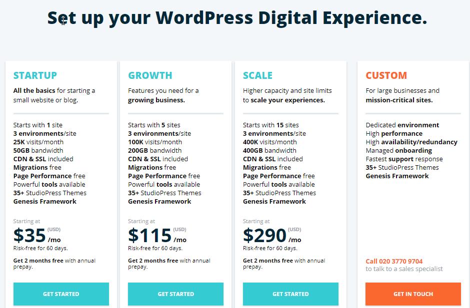 WP Engine Startup Plan