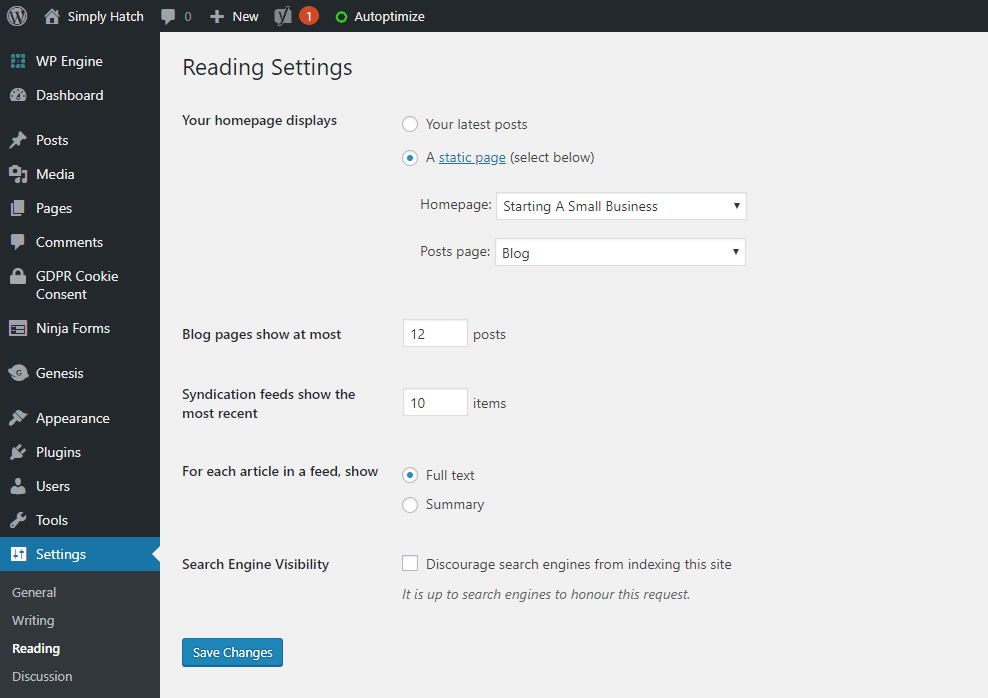 Settings for your WordPress blog page