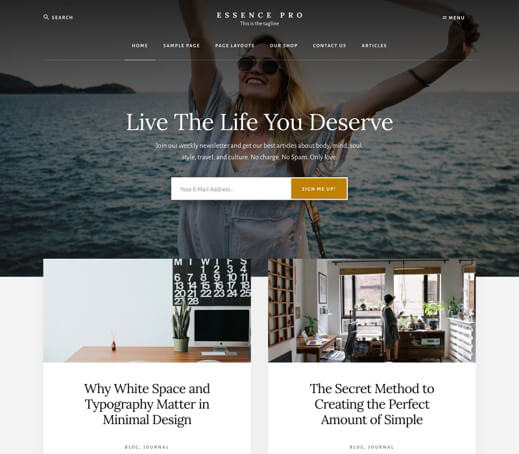 StudioPress Essence Pro - Blog design tips