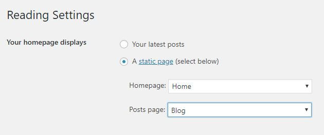 WordPress Reading Settings. Static homepage.