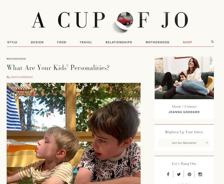 start a blog example - a cup of jo