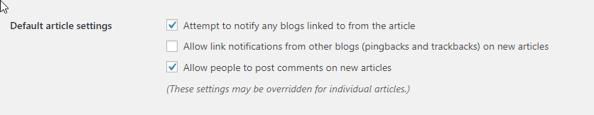 article settings