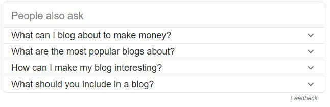 Google related keywords for what to blog about.
