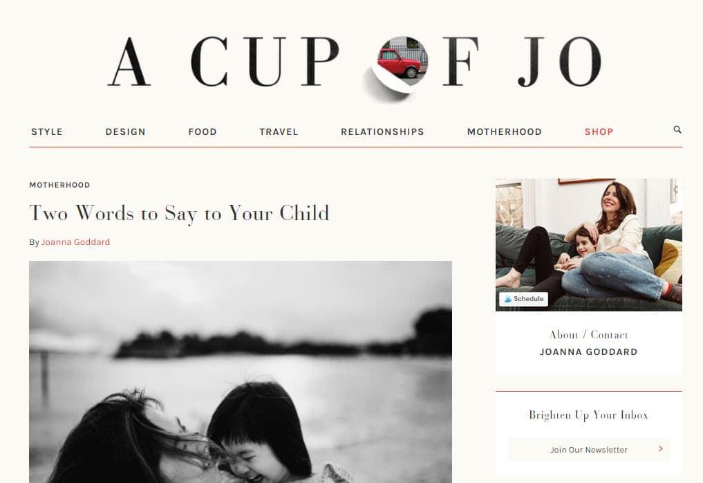 good blog design - a cup of jo