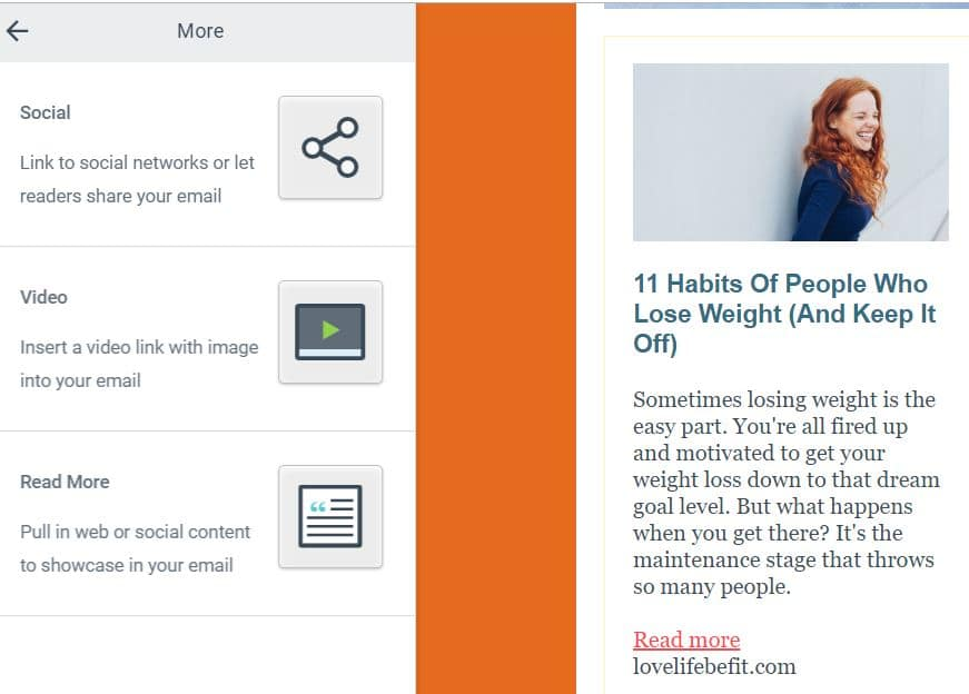 Add an excerpt of your posts to your emails with Constant Contact read more feature.