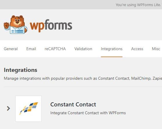 WPForms Lite integration with Constant Contact