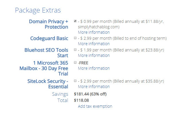 Bluehost package extras for your lifestyle blog