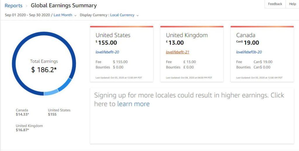 Amazon Associate Earnings August 2020